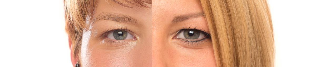 Durch Permanent Make-up ist es möglich den gesamten Schminkprozess zu vereinfachen. Das Foto zeigt eine junge Frau vor und nach der Behandlung, und macht die kosmetische Wirkung deutlich.