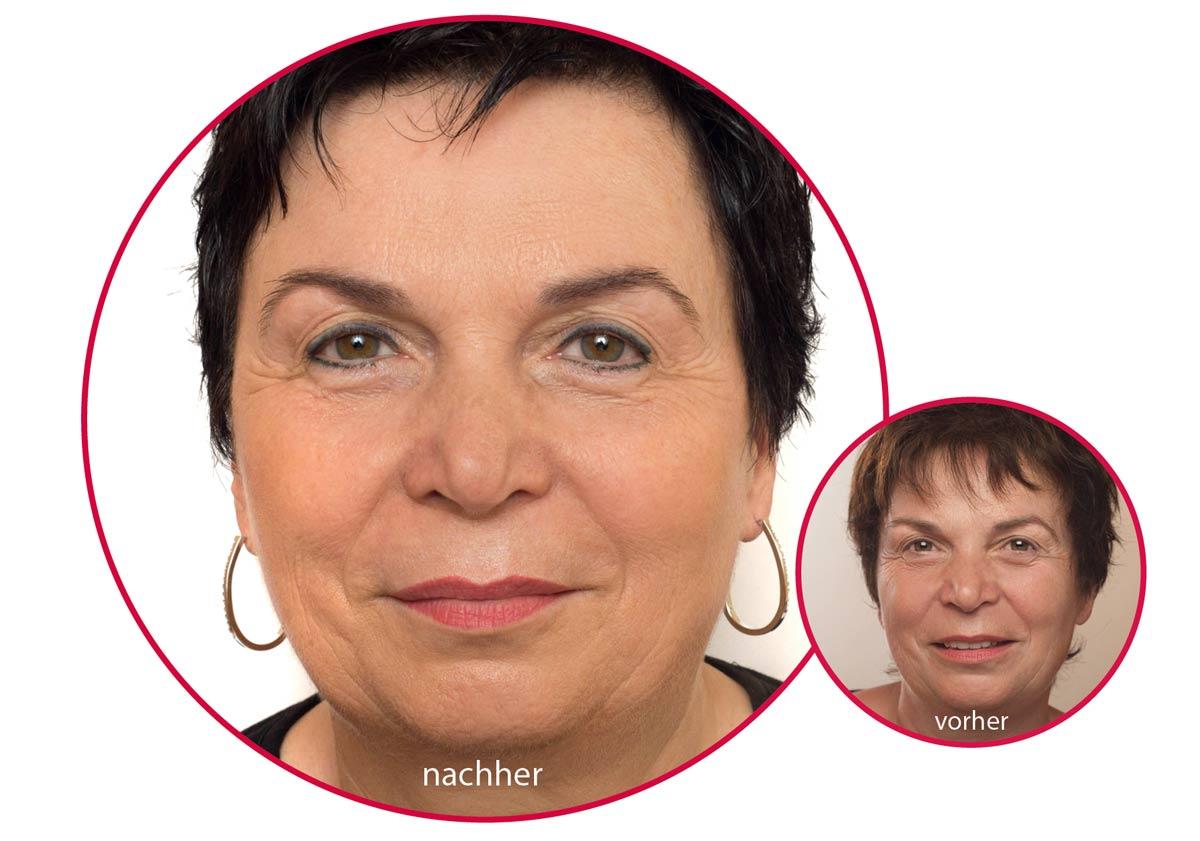 Ältere Dame mit Permanent Make-up an der Augenpartie.