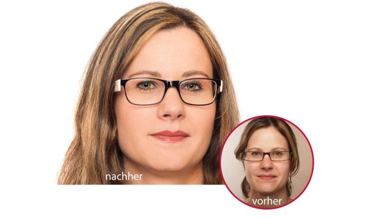Foto einer jungen Frau mit Permanent Make-up, vor und nach der Anwendung.